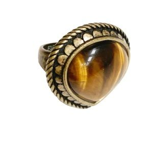Fossil Brown Stone Ring Size 7
